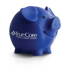 Blue piggy bank.